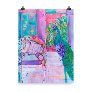 Art Print of Peacock and Chair - Davina Shefet Art Store