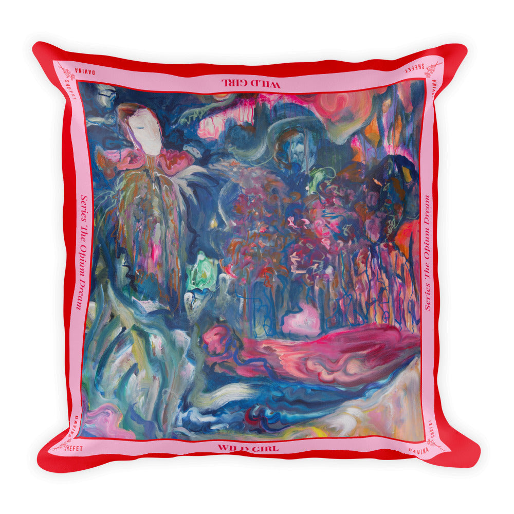 "Big Square Pillow, ""Wild Girl"" - Davina Shefet Art Store"