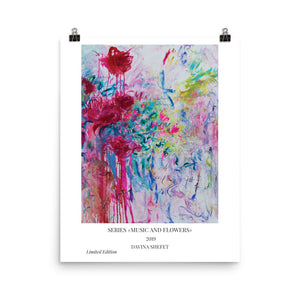 Abstract Flowers Art Print, Right part of duo paintings - Davina Shefet Art Store