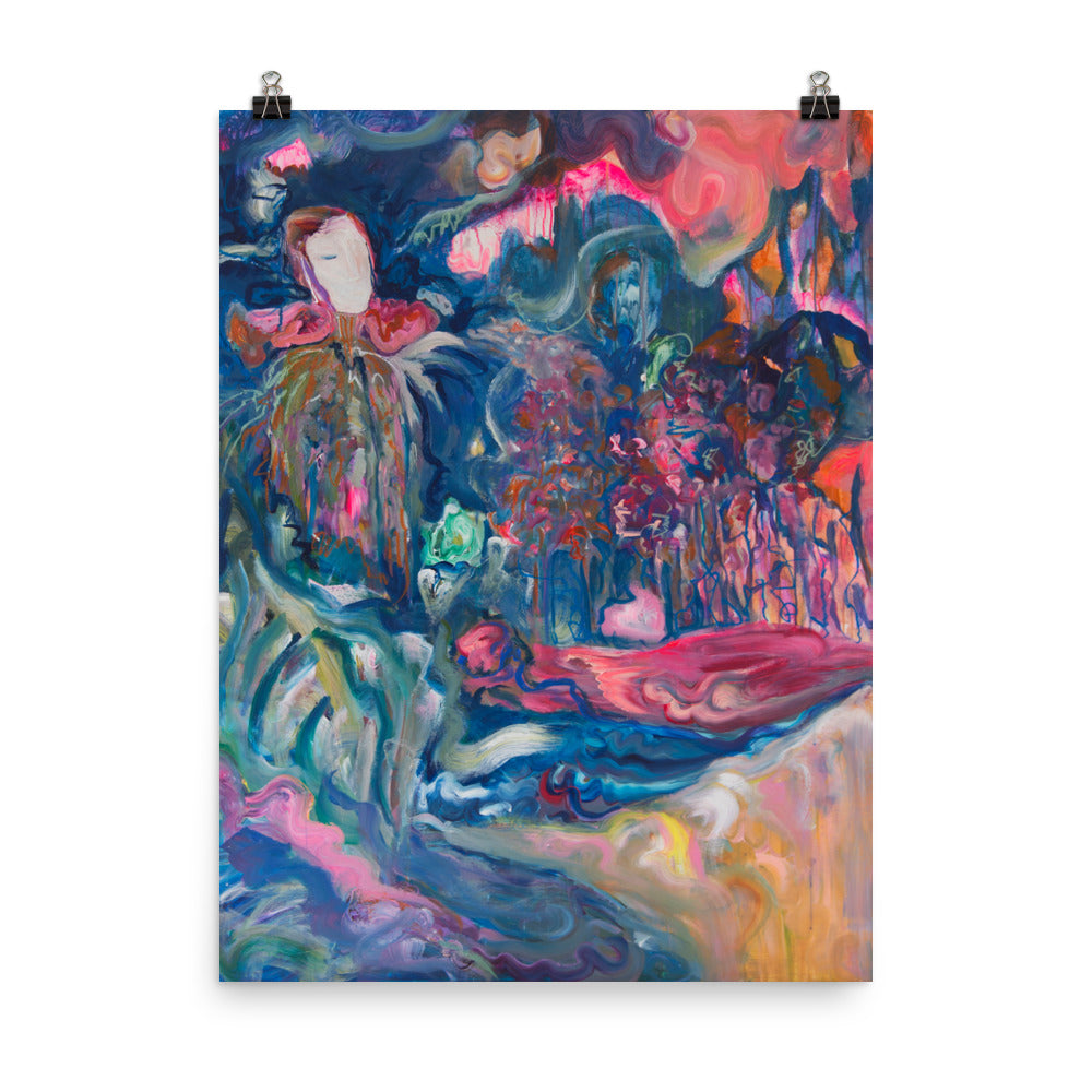 Art Poster of woman in forest, contemporary art - Davina Shefet Art Store