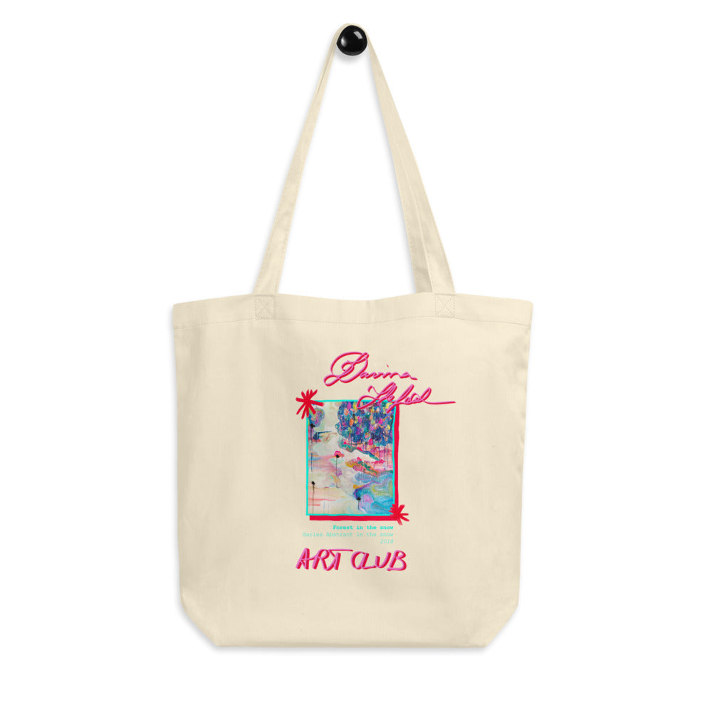 Big Eco Tote Bag, with Art Forest in the snow