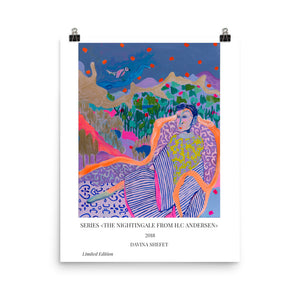 "Art Poster illustrating ""The Nightingale"" Story by HC Andersen - Davina Shefet Art Store"