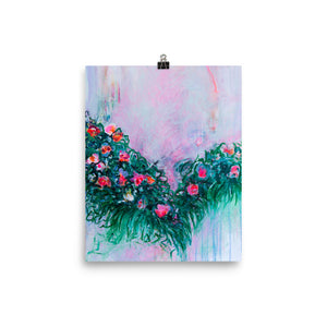 Art Print, White and Green Flowers