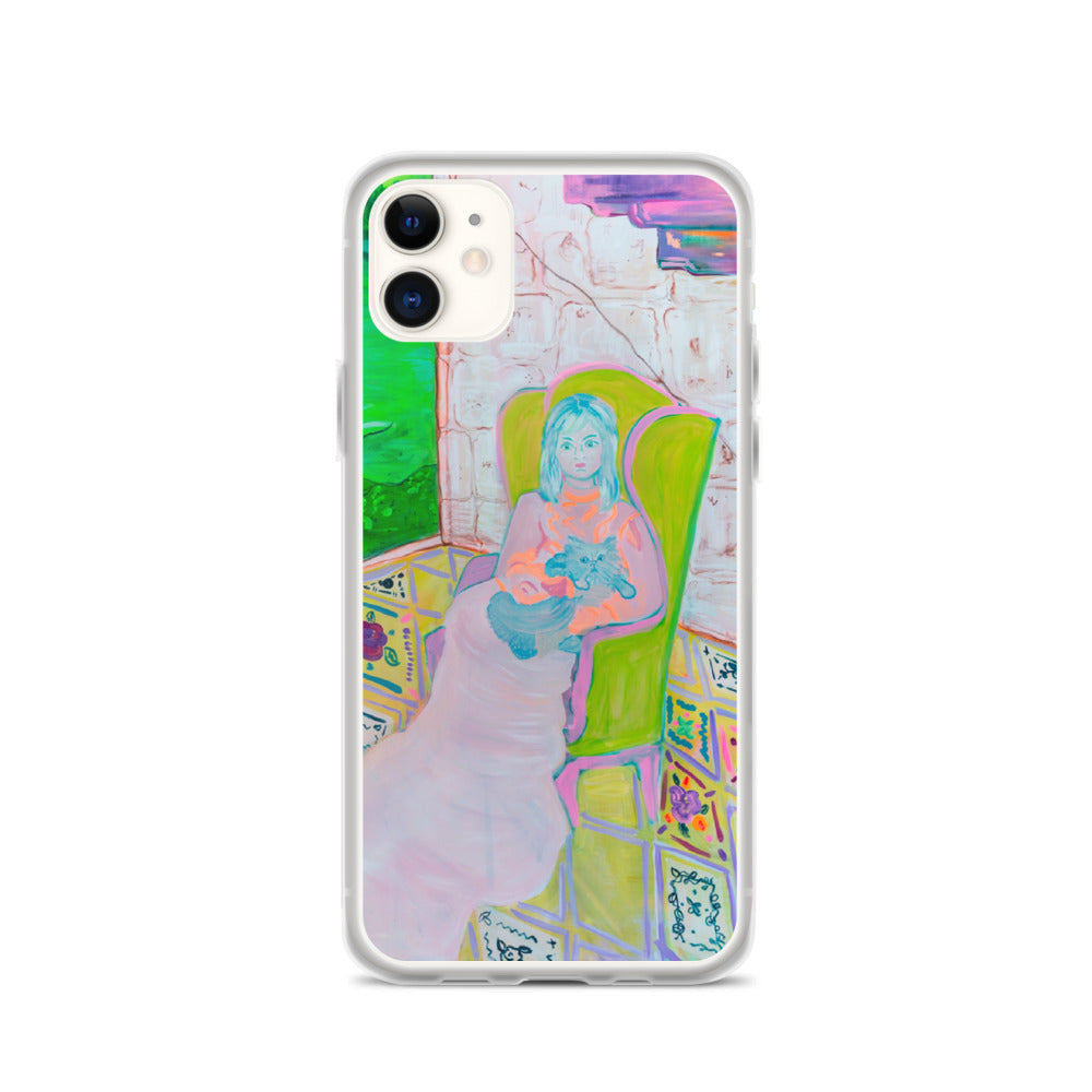 "iPhone Case, ""Woman and Green Chair"" - Davina Shefet Art Store"
