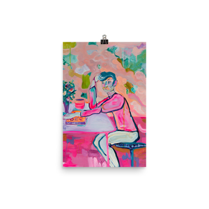 Art Print Boy in Café - Davina Shefet Art Store