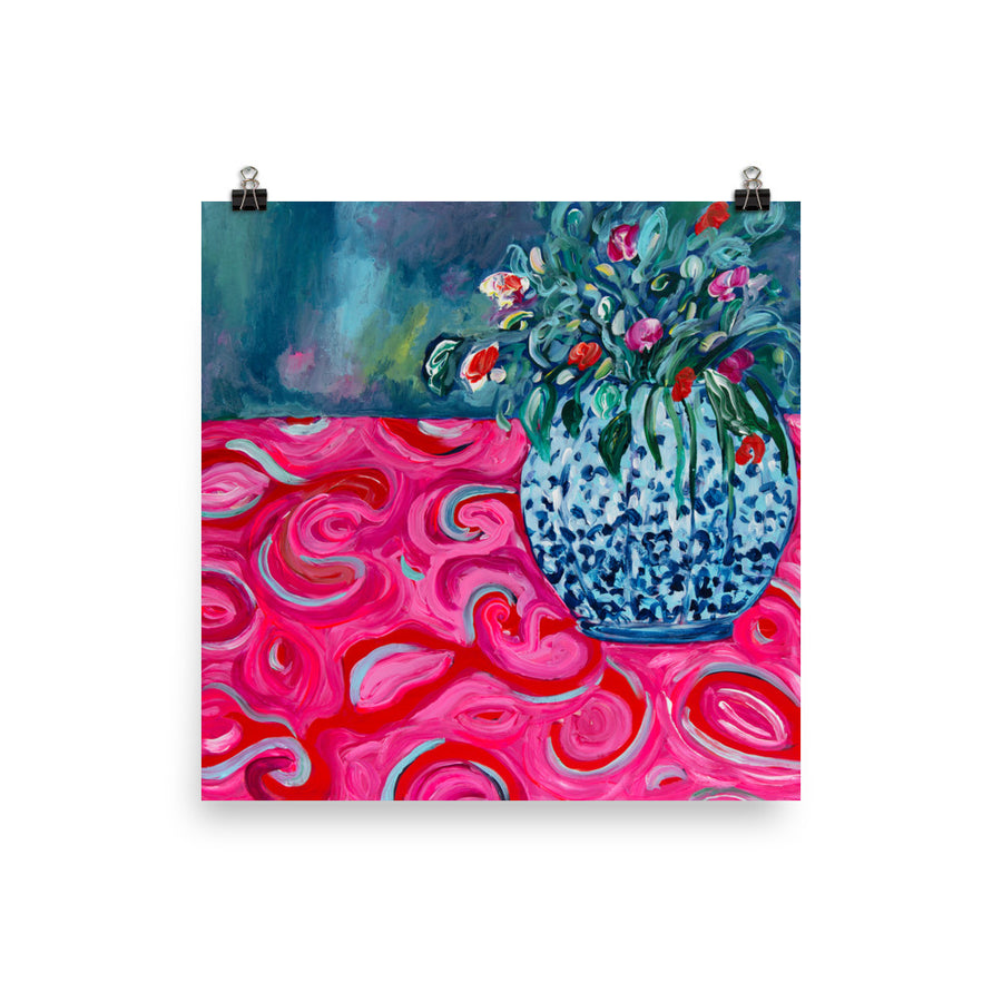 "Limited Edition Art Print, ""Blue Vase on Red Tablecloth"" - Davina Shefet Art Store"