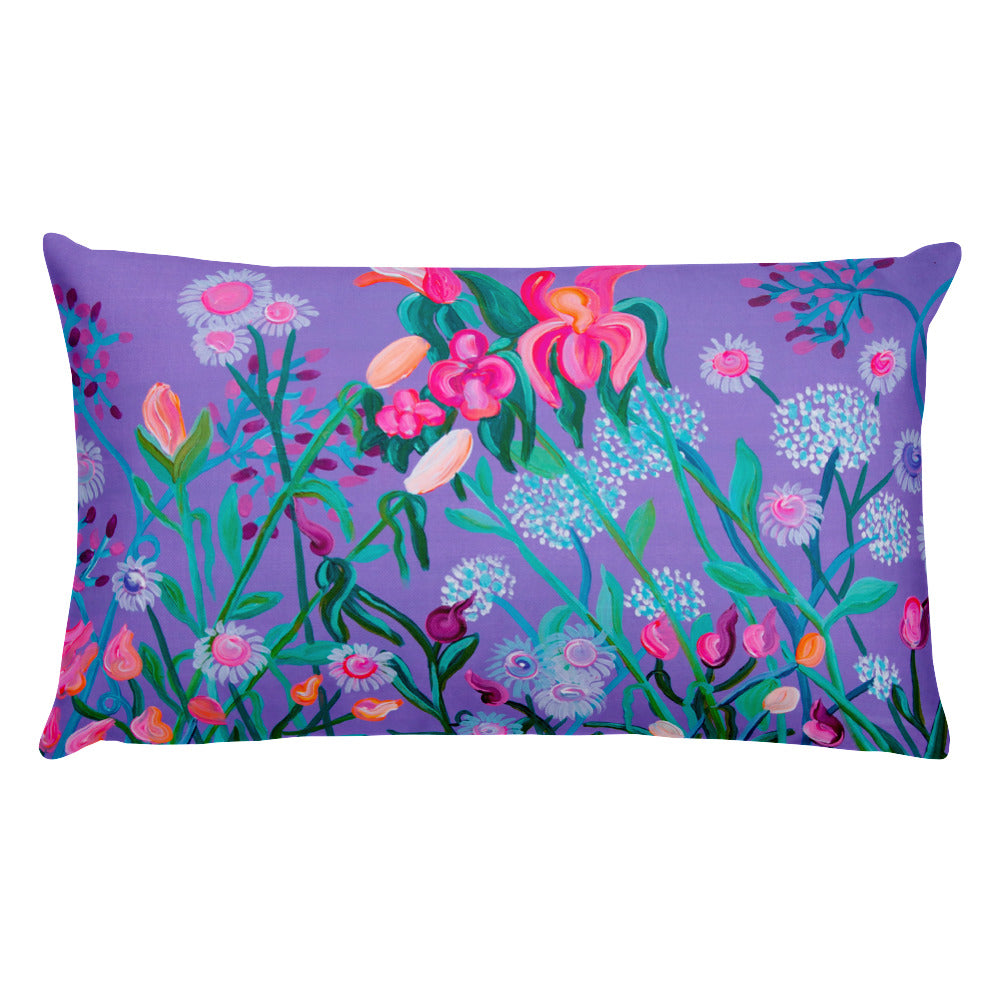 2 Sizes Pillow, Dog and floral print - Davina Shefet Art Store