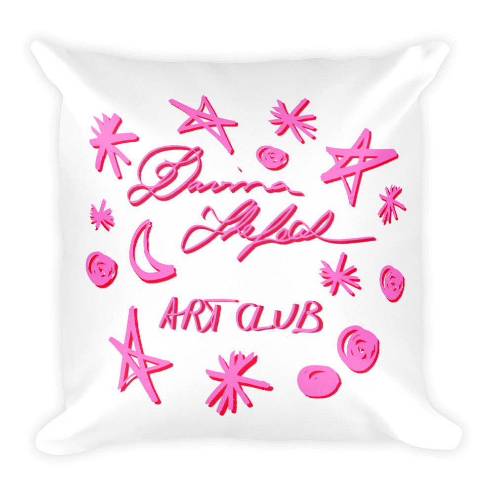 2 Sizes - Big luxurious pillow with flowers and pug