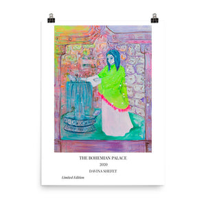 Art Print of Woman and Fountain with Title - Davina Shefet Art Store