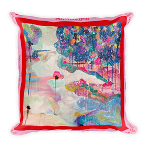 Big Square Pillow, Forest in the snow - Davina Shefet Art Store