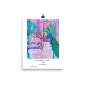 Art Print with title of Peacock and Chair - Davina Shefet Art Store