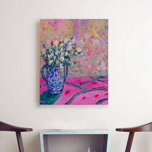 Blue and Pink Bouquet, Flower Original painting