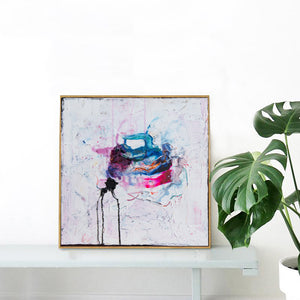 White Abstract Painting, Small original painting - Davina Shefet Art Store
