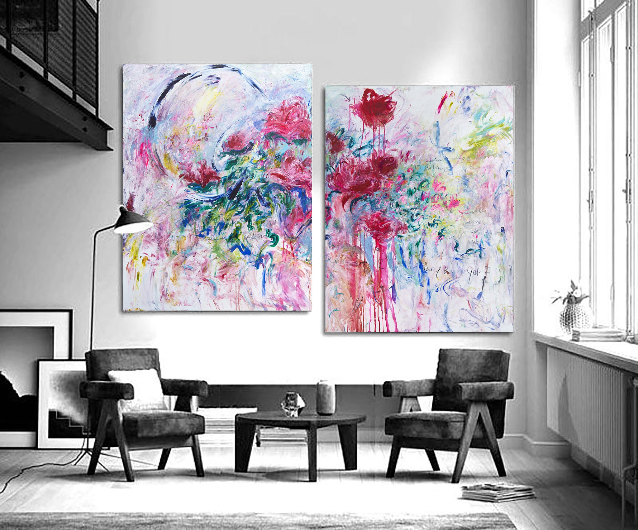 Duo of abstract original paintings, Scandinavian home decor