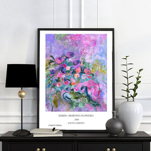 Pink and Blue Flowers print - Davina Shefet Art Store