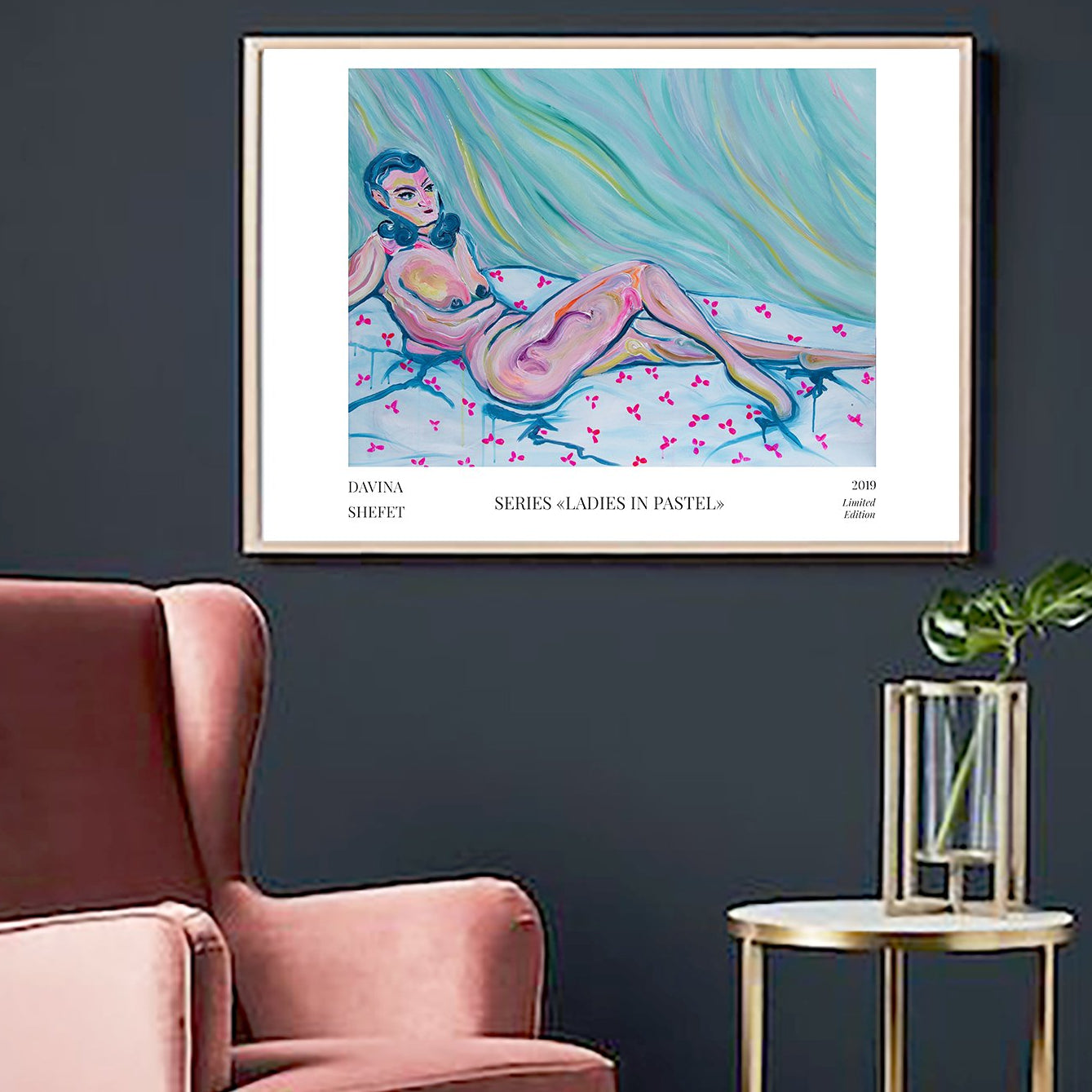 Nude Lying Woman Art Poster - Davina Shefet Art Store