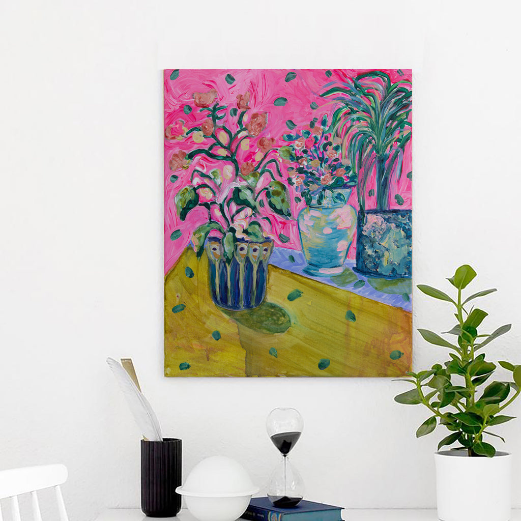 Yellow and Pink Bouquet Original painting, Floral Art