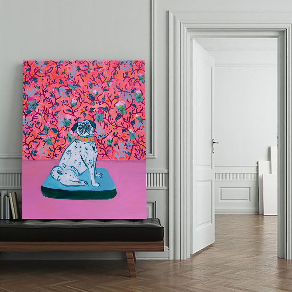 Pink Flowers And Pug Canvas