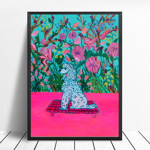 Flowers and Dog Art Print - Davina Shefet Art Store