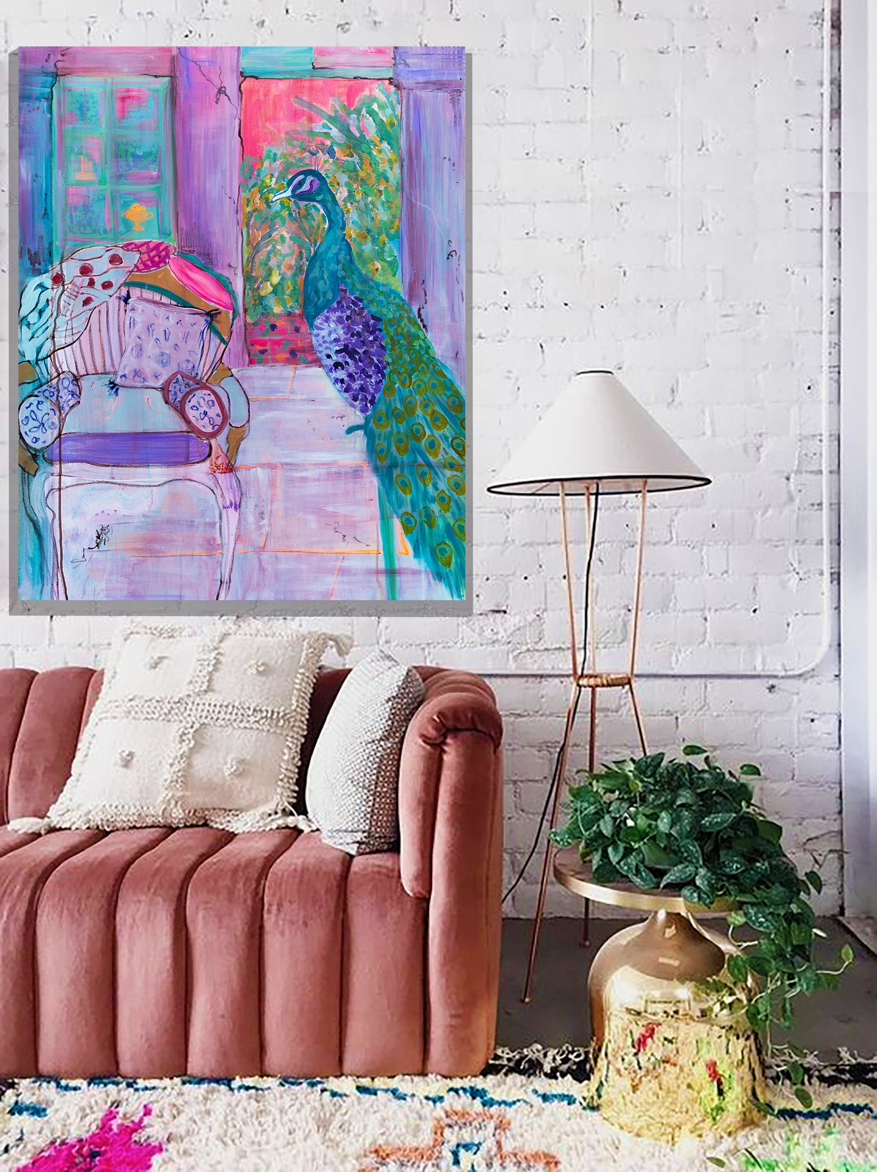 """Peacock and chair"" Painting - Davina Shefet Art Store"