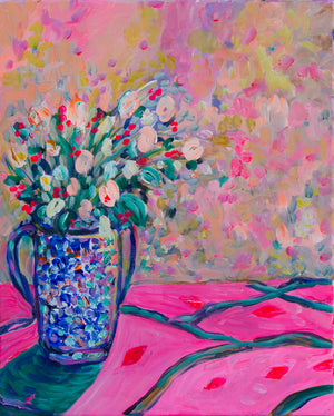 Blue and Pink Bouquet, Flower Original painting - Davina Shefet Art Store