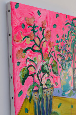 Yellow and Pink Bouquet Original painting, Floral Art - Davina Shefet Art Store