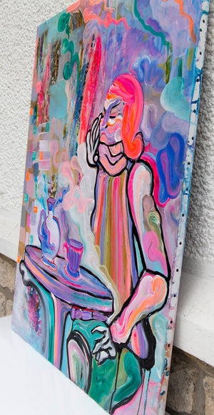 Contemporary Painting, Modern Art Style, Portrait of Woman - Davina Shefet Art Store