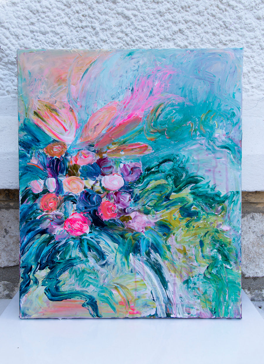 Abstract Flowers Painting - Davina Shefet Art Store