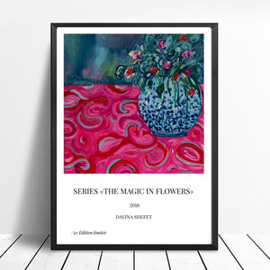 Art Print of Red Bouquet, Blue Vase