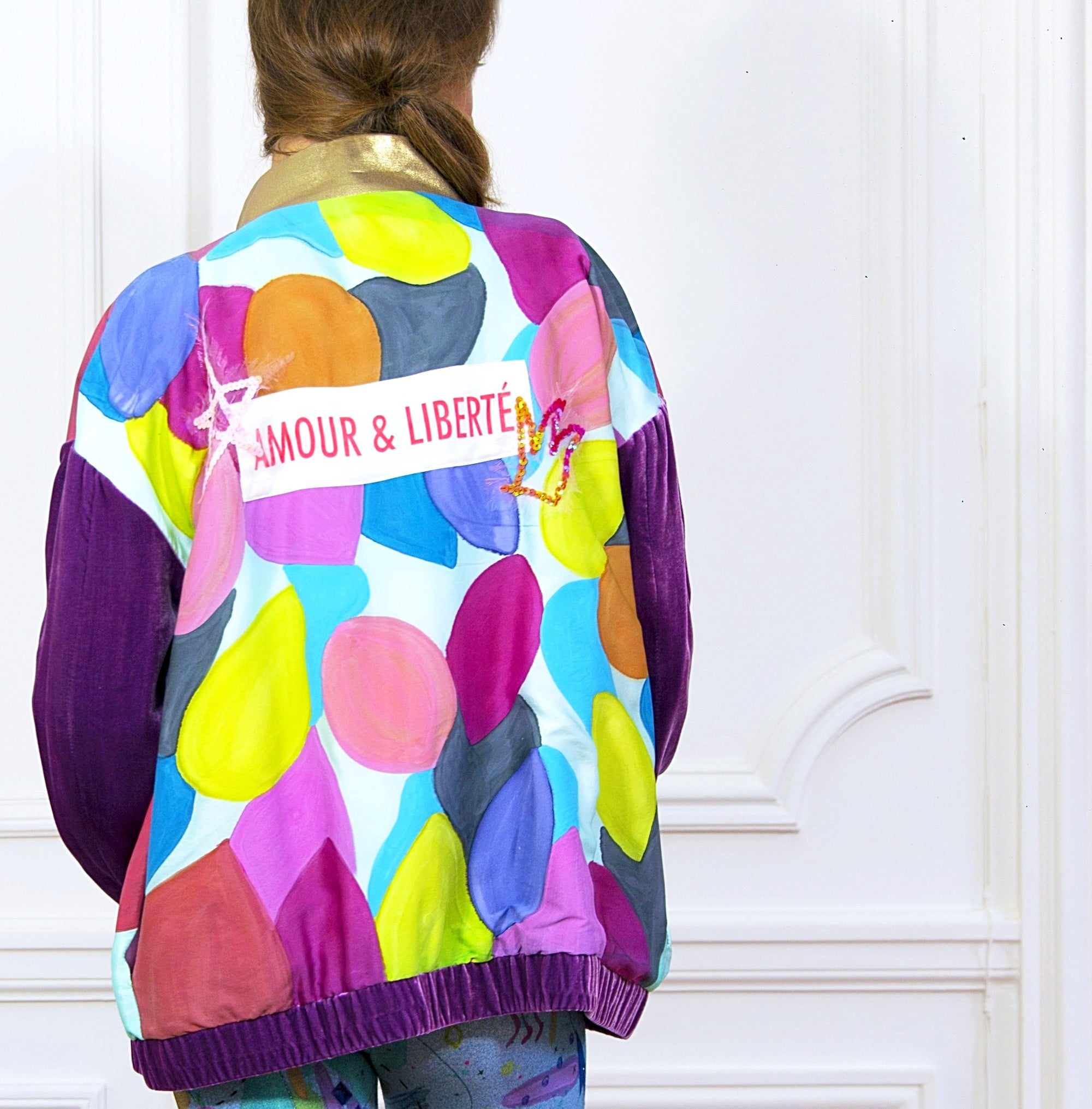 Hand painted Bomber Jacket Pink - Collector Unique Piece - Davina Shefet Art Store