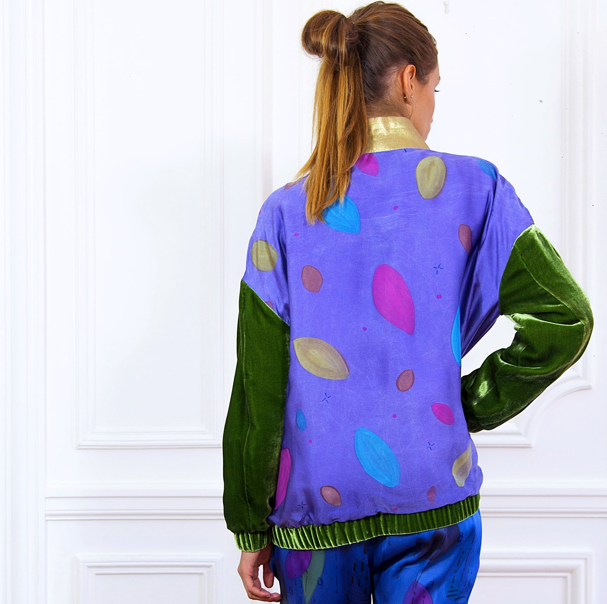 Hand painted Bomber Jacket Purple - Collector Unique Piece