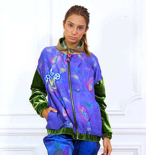Hand painted Bomber Jacket Purple - Collector Unique Piece - Davina Shefet Art Store