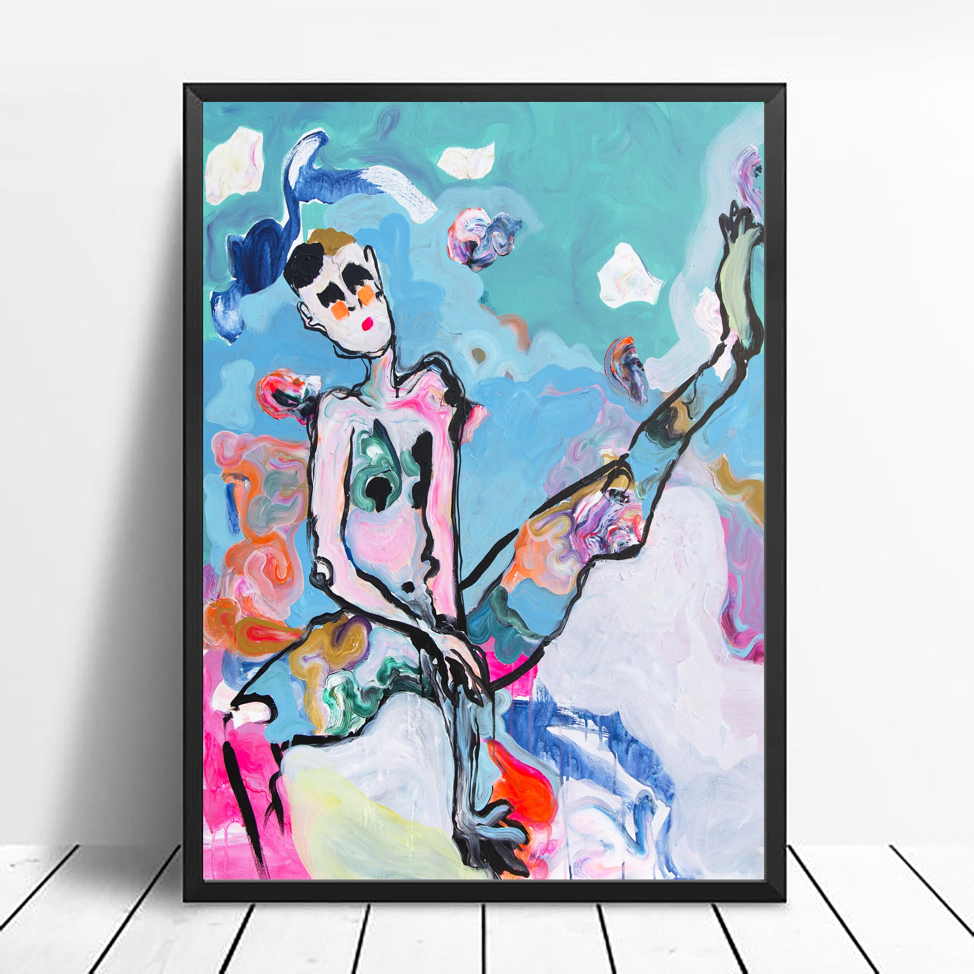 Art Print of contemporary art, nude portrait and abstract setting - Davina Shefet Art Store