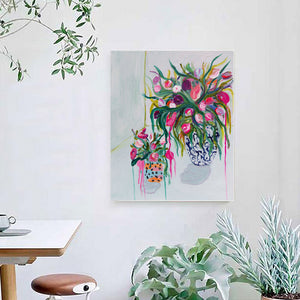 Poster of A Blue Vase In a White Room - Davina Shefet Art Store
