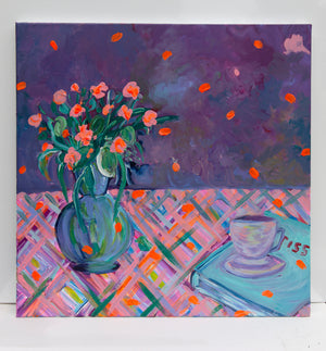 Purple Bouquet, Acrylic Original painting - Davina Shefet Art Store