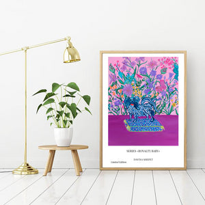 Purple Poster Papillon Dog - Davina Shefet Art Store