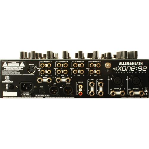 Allen & Heath Xone:92 Fader Professional 6 Channel Club/DJ Mixer - Rock and Soul DJ Equipment and Records