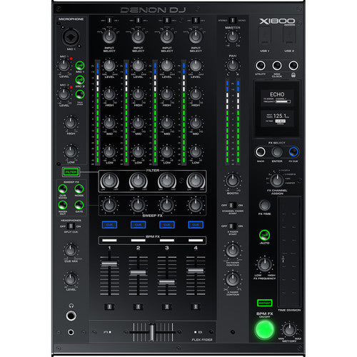 Denon DJ X1800 Prime - Professional 4-Channel DJ Club Mixer with Smart Hub - Rock and Soul DJ Equipment and Records