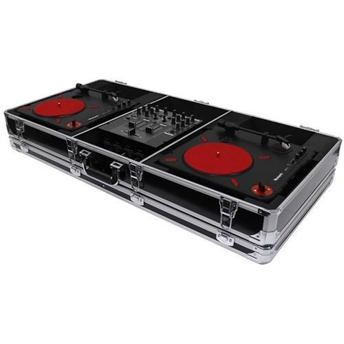 "Odyssey Krom DJ Coffin for Two Numark PT01 Scratch Turntables and A Compact 10"" Format DJ Mixer - Rock and Soul DJ Equipment and Records"