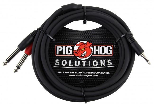 "Pig Hog PB-S3410 10' 3.5mm Stereo to Dual 1/4"" Mono (Male) Breakout Cable - Rock and Soul DJ Equipment and Records"