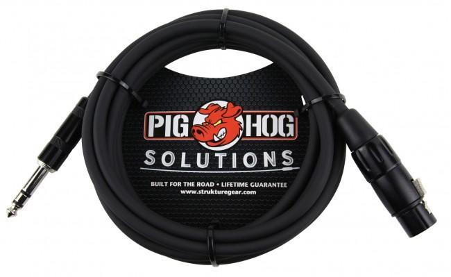 Pig Hog PX-TMXF1 10' TRS Male to XLR Female Balanced Cable - Rock and Soul DJ Equipment and Records