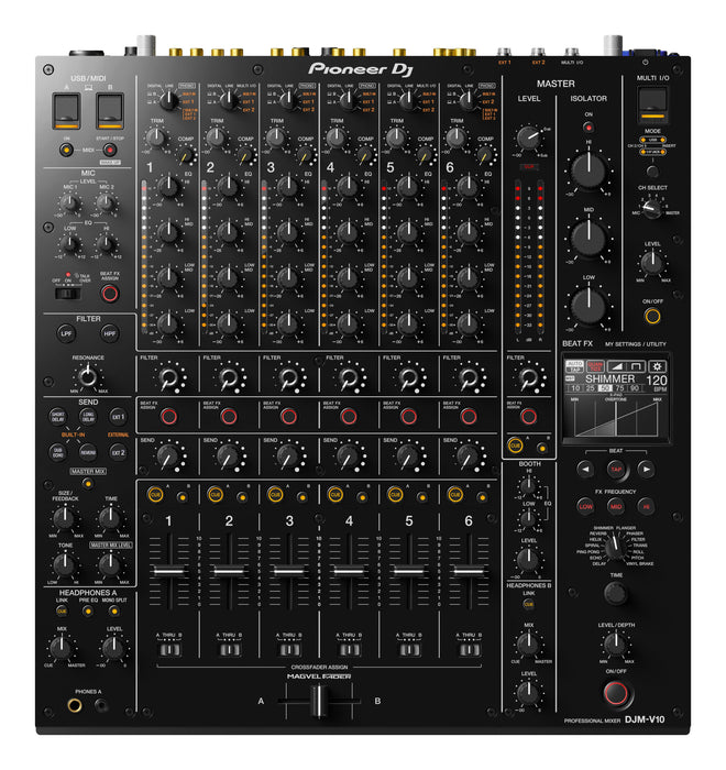 Pioneer DJ DJM-V10 6-Channel Professional DJ Mixer (Black) - Rock and Soul DJ Equipment and Records