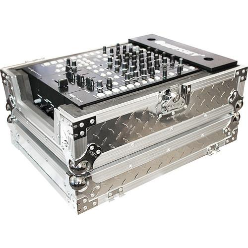 "Odyssey Innovative Designs FZ12MIXDIA Silver Diamond Plated 12"" Wide DJ Mixer Flight Zone Case (Silver) - Rock and Soul DJ Equipment and Records"