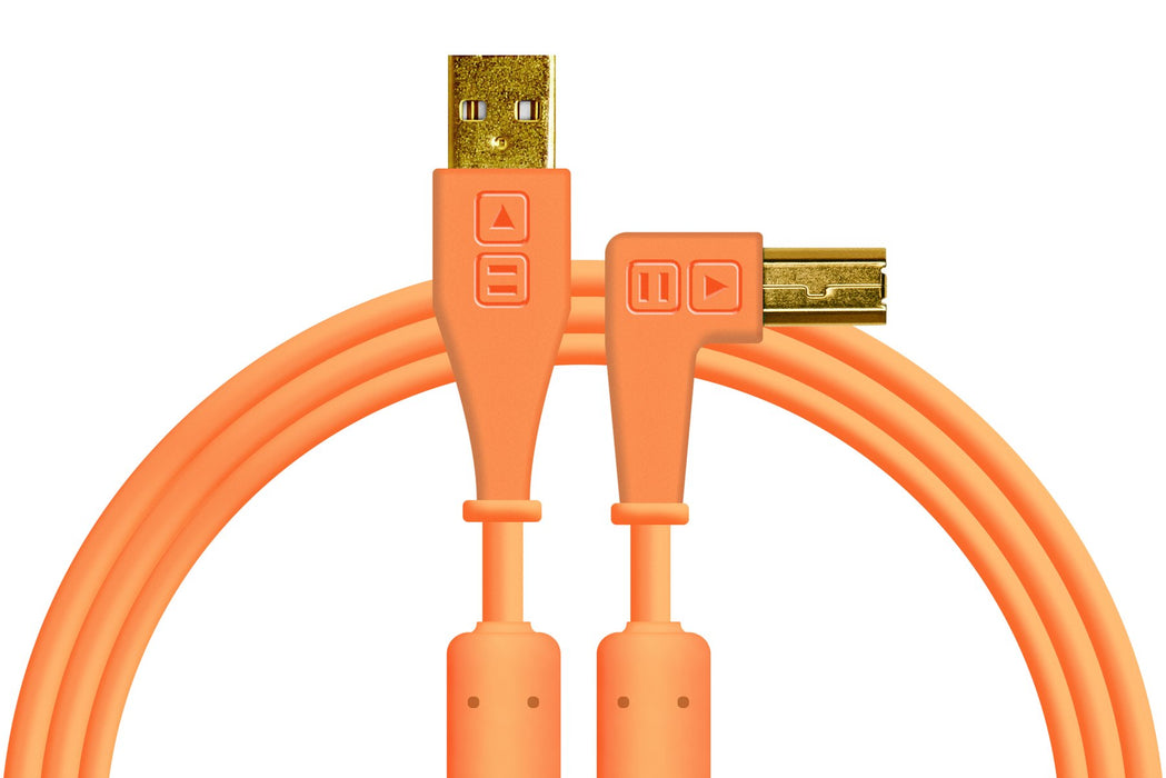 Chroma Cables: Audio Optimized USB Cables - Neon Orange Right Angle - Rock and Soul DJ Equipment and Records