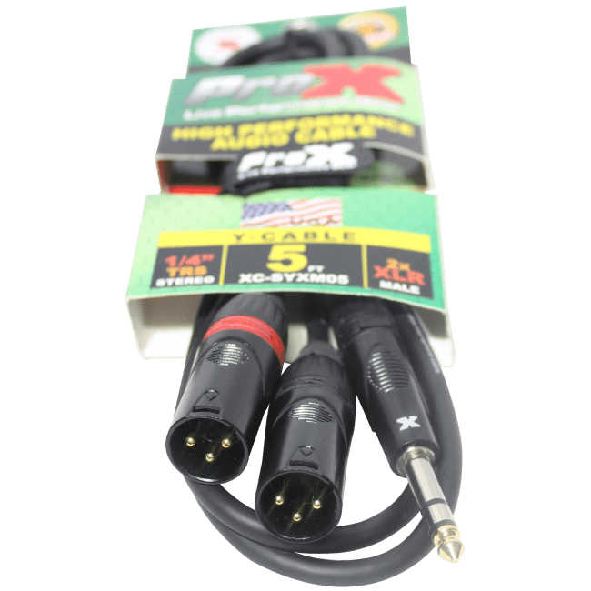 "ProX - 1/4"" TRS Stereo to DUAL XLR Y 5ft Cable"