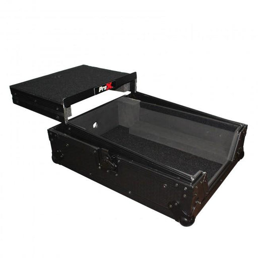 "Pro X - Mixer ATA Flight Hard Case for Large Format 12"" Universal DJ Mixer with Laptop Shelf Black on Black"