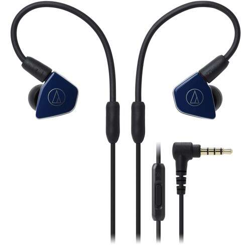 Audio-Technica Consumer ATH-LS50iSNV In-Ear Headphones with In-Line Mic and Control (Navy Blue) - Rock and Soul DJ Equipment and Records