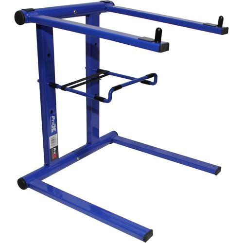 ProX T-LPS600BLUE Foldable Portable Laptop Stand with Adjustable Shelf (Blue) - Rock and Soul DJ Equipment and Records