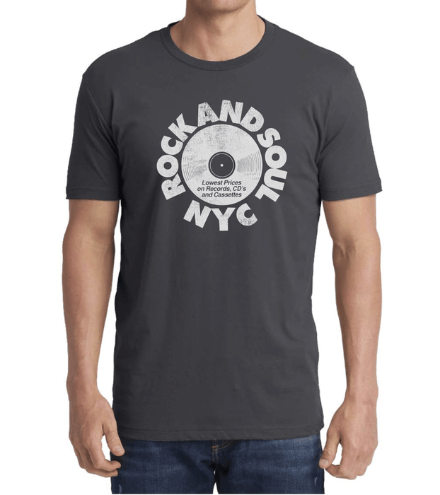 Rock And Soul Retro Tee (Gray/White) - Rock and Soul DJ Equipment and Records