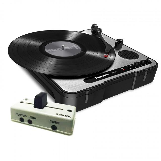 Numark PT01 USB Portable Turntable with Jesse Dean JDDX2R Fader in Hi Roller White - Rock and Soul DJ Equipment and Records